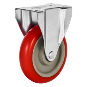 5 inch Red PU Non Swivel Fixed Rigid Caster