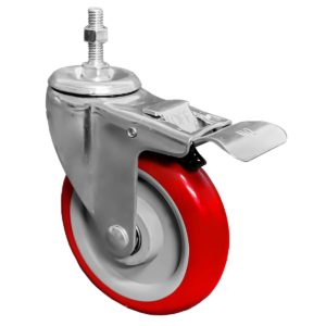 5 inch Red PU Swivel Stem Caster With Front Brake