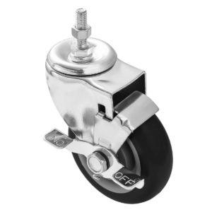 5 inch Black PU Swivel Stem Caster With Side Brake