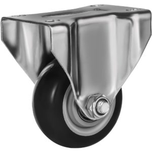 3 inch Black PU Non Swivel Fixed Rigid Caster