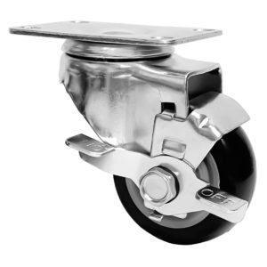 3 inch Black PU Swivel Caster With Side Brake