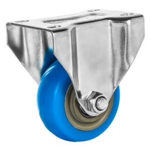 3 inch Blue PU Non Swivel Fixed Rigid Caster