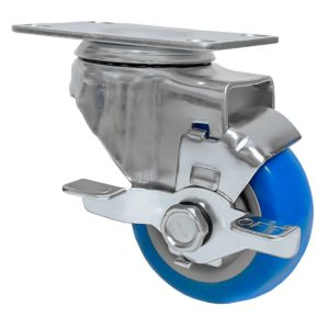 3 inch Blue PU Swivel Caster With Side Brake