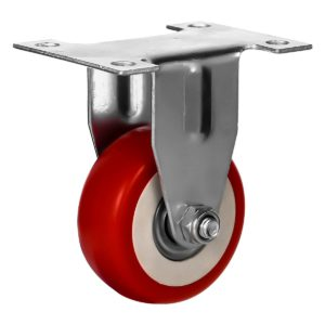 2 inch Red PU Non Swivel Fixed Rigid Caster