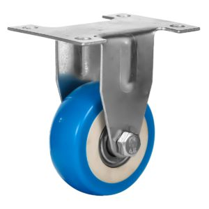 2 inch Blue PU Non Swivel Fixed Rigid Caster