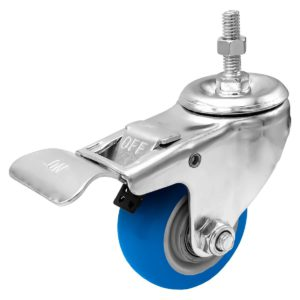 3 inch Blue PU Swivel Stem Caster With Front Brake