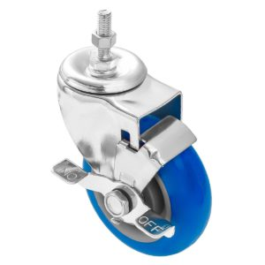 3 inch Blue PU Swivel Stem Caster With Side Brake