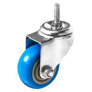 3 inch Blue PU Swivel Stem Caster No Brake