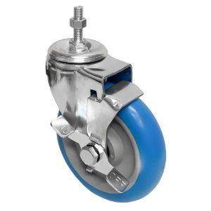 5 inch Blue PU Swivel Stem Caster With Side Brake