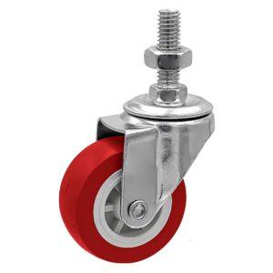 2 inch Red PU Swivel Stem Caster No Brake
