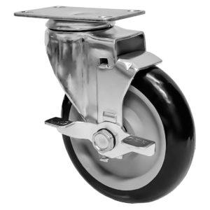 5 inch Black PU Swivel Caster With Side Brake