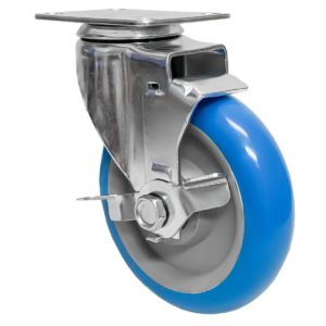 5 inch Blue PU Swivel Caster With Side Brake