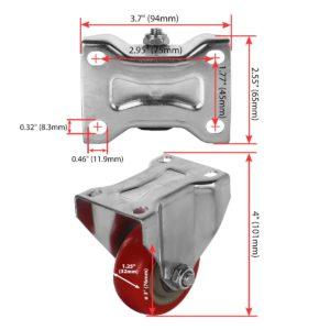 3 inch Red PU Non Swivel Fixed Rigid Caster