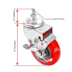 3 inch Red PU Swivel Stem Caster With Side Brake