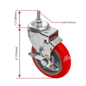 5 inch Red PU Swivel Stem Caster With Side Brake
