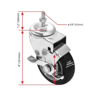 3 inch Black PU Swivel Stem Caster With Side Brake