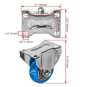 3 inch Blue PU Non Swivel Fixed Rigid Caster