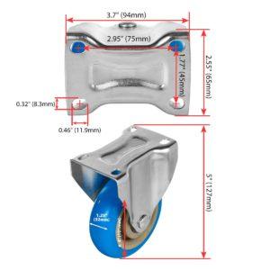 4 inch Blue PU Non Swivel Fixed Rigid Caster
