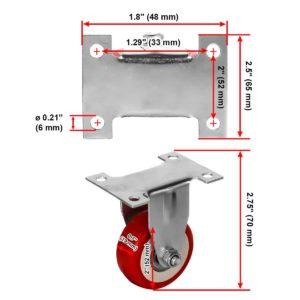 2 inch Red PU Non Swivel Fixed Rigid Caster