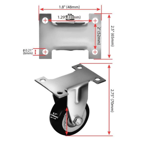 2 inch Black PU Non Swivel Fixed Rigid Caster