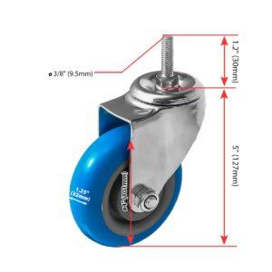 4 inch Blue PU Swivel Stem Caster No Brake
