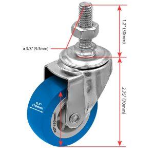 2 inch Blue PU Swivel Stem Caster No Brake