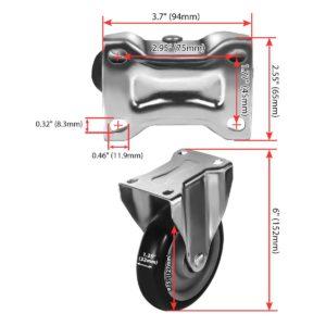 5 inch Black PU Non Swivel Fixed Rigid Caster