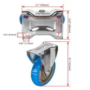 5 inch Blue PU Non Swivel Fixed Rigid Caster