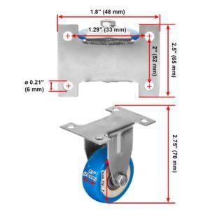 2 inch Blue PU Non Swivel Fixed Rigid Caster