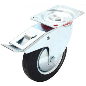 6 Inch Black Rubber Swivel Caster Wheel With Brake