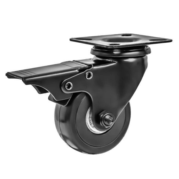 2 Inch All Black PU Swivel Caster Wheel With Brake