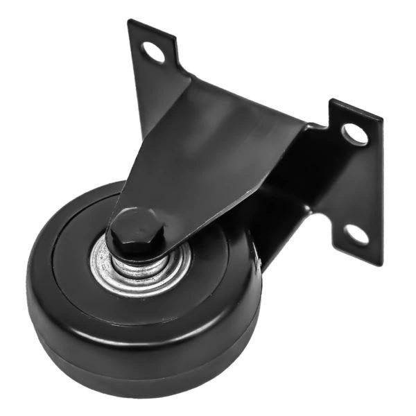 2 Inch All Black PU Non Swivel Caster Wheel Rigid