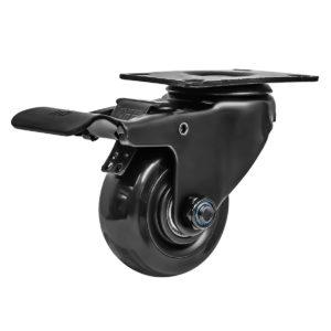 3 Inch All Black PU Swivel Caster Wheel With Brake