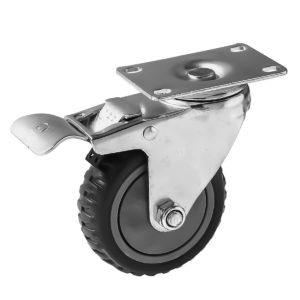 4 inch Grey All Terrain Tyre Veins PU Swivel Caster With Brake