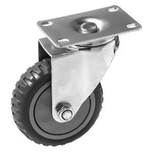 4 inch Grey All Terrain Tyre Veins PU Swivel Caster No Brake