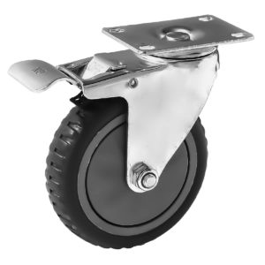 5 inch Grey All Terrain Tyre Veins PU Swivel Caster With Brake