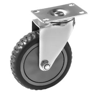 5 inch Grey All Terrain Tyre Veins PU Swivel Caster No Brake