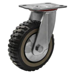 6 inch Grey All Terrain Tyre Veins PU Swivel Caster No Brake