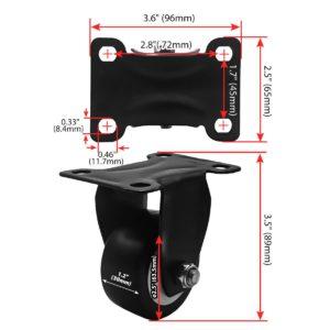 2.5 inch All Black PU Non Swivel Fixed Rigid Caster