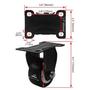 3 inch All Black PU Non Swivel Fixed Rigid Caster