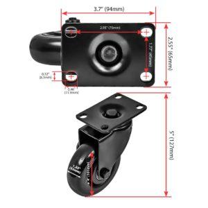 4 Inch All Black PU Swivel Caster Wheel No Brake