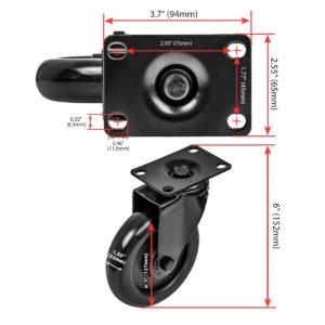 5 Inch All Black PU Swivel Caster Wheel No Brake