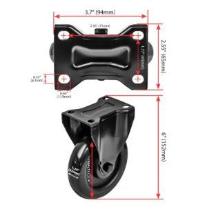 5 Inch All Black PU Non Swivel Caster Wheel Rigid