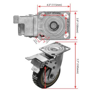 6 inch Grey All Terrain Tyre Veins PU Swivel Caster With Brake