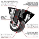 3_115802 inch All Black PU Non Swivel Fixed Rigid Caster-S