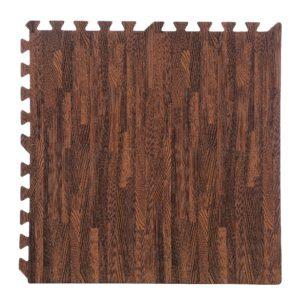 "96 Pack 12""x12"" Interlocking Cherry Wood Foam Floor Mats Exercise Puzzle Tiles"