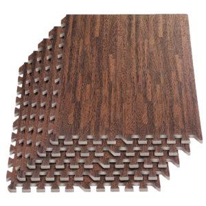 "24 Pack 24""x24"" Interlocking Cherry Wood Floor Foam Mats Exercise Puzzle Tiles"