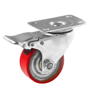 3 inch Red PU Swivel Polyurethane on Cast Iron Wheel Caster With Brake