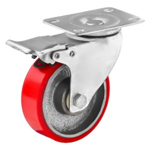4 inch Red PU Swivel Polyurethane on Cast Iron Wheel Caster With Brake