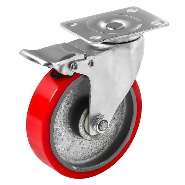 5 inch Red PU Swivel Polyurethane on Cast Iron Wheel Caster With Brake